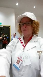 Judge Debbie at the R and A Dairy and Cheese Show.