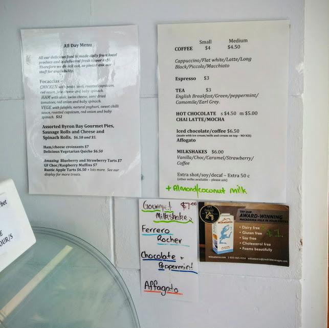 menu at lighthouse cafe